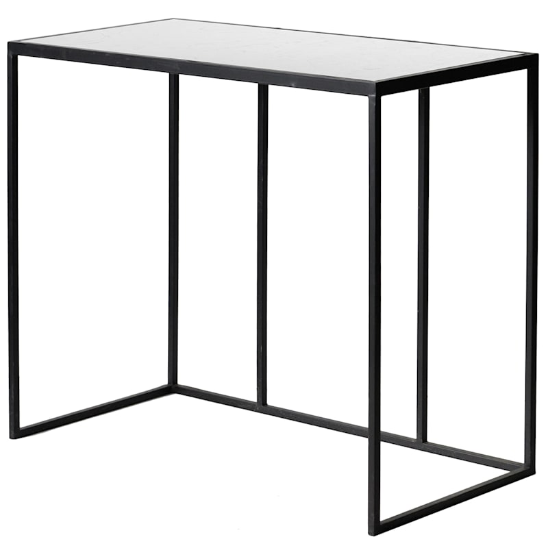 """Marble Top Console Table With Metal Base, 35"""""""