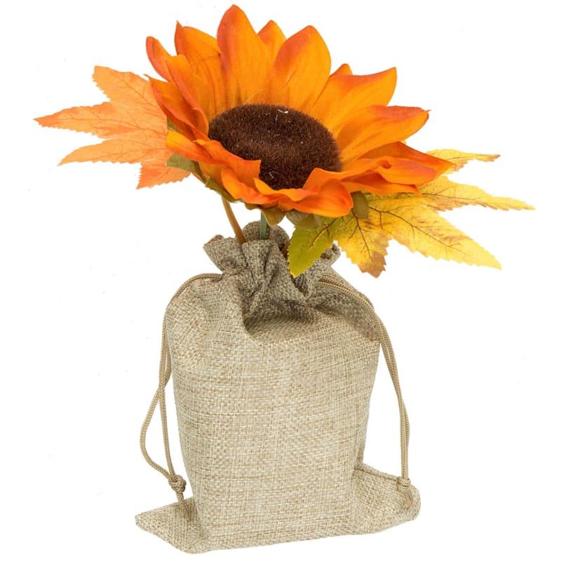"""Orange Sunflower in Burlap Bag, 6.5"""""""