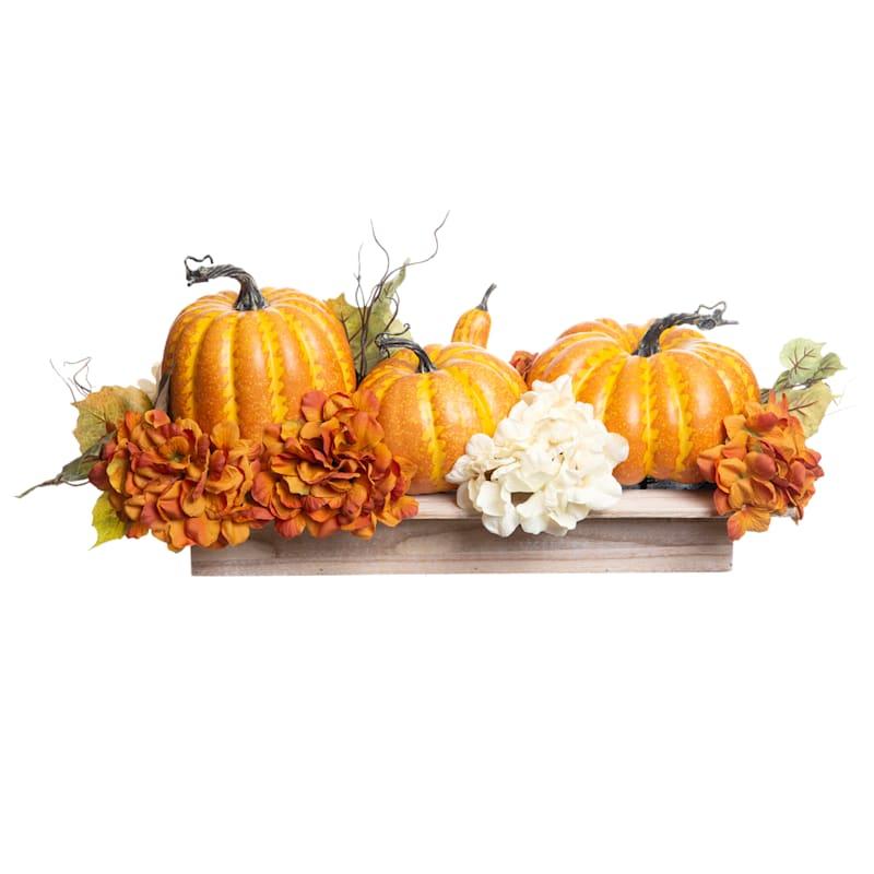 Assorted Hydrangea and Pumpkins Arrangement, 12x31
