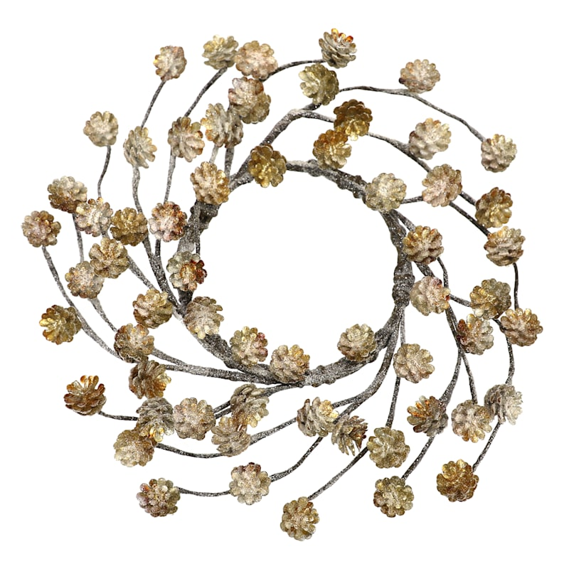 "Gold Pinecone & Berry Wreath, 9"""