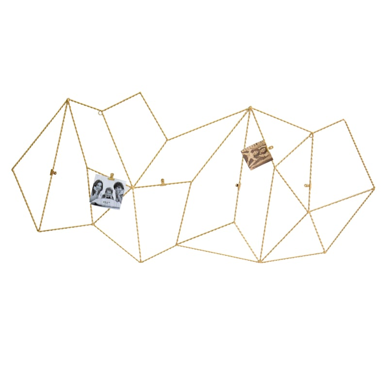 46X22 Metal Gold Geo Grid Photo Clip Wall Frame