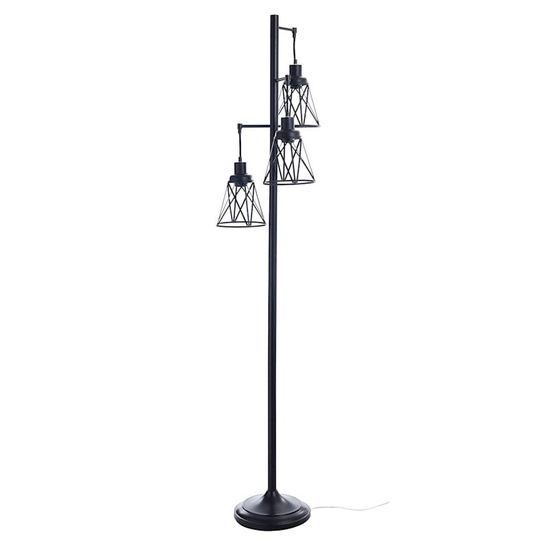 73in. Black Metal Floor Lamp