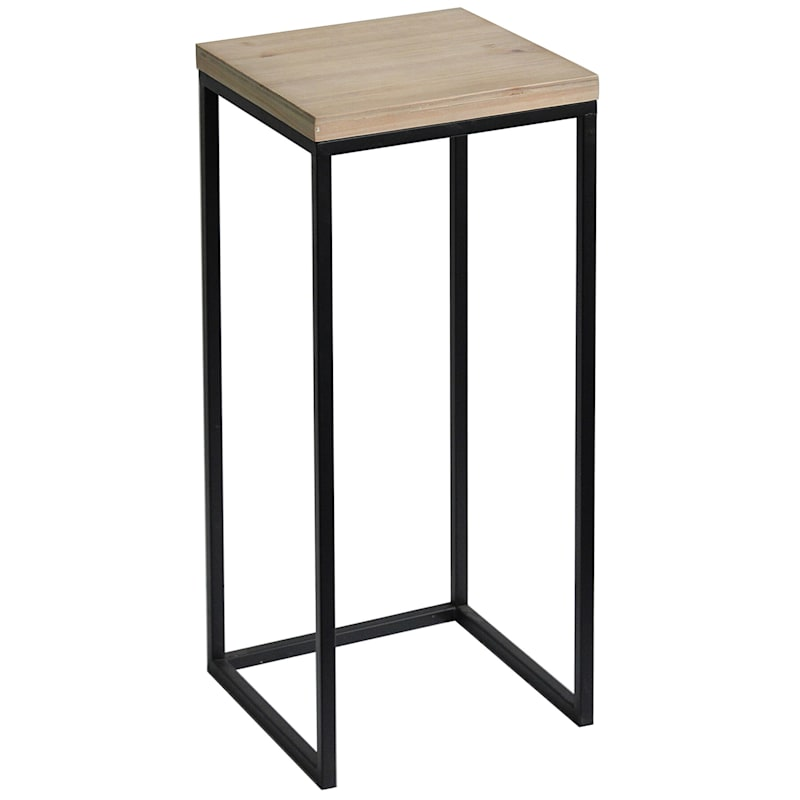 Fiona Wood Top Plant Stand With Metal Base, Large