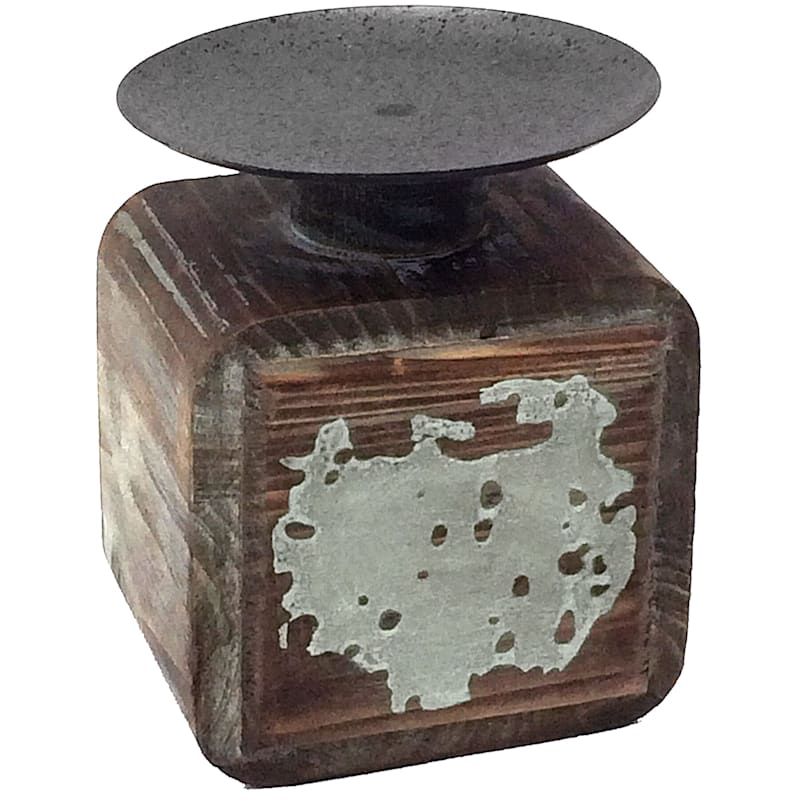 6in. Wooden Iron Candle Holder