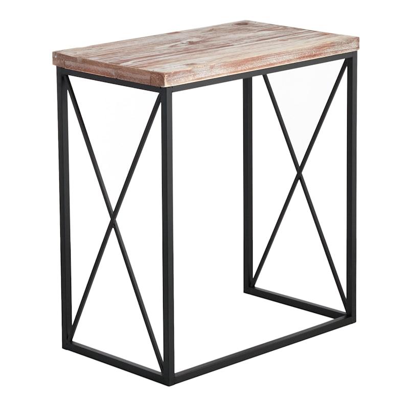 Wood Top With Black Cross Metal Table, Medium