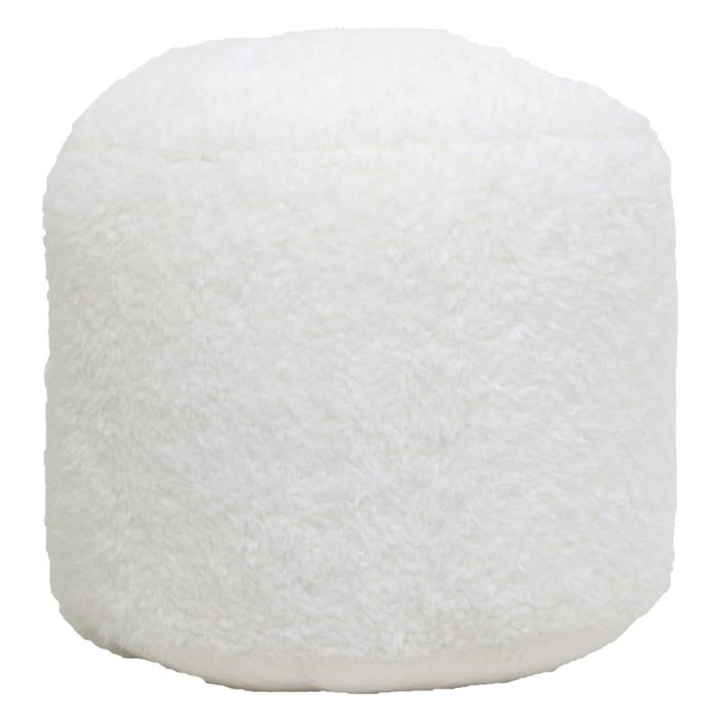 Athena Ivory Faux Fur Pouf