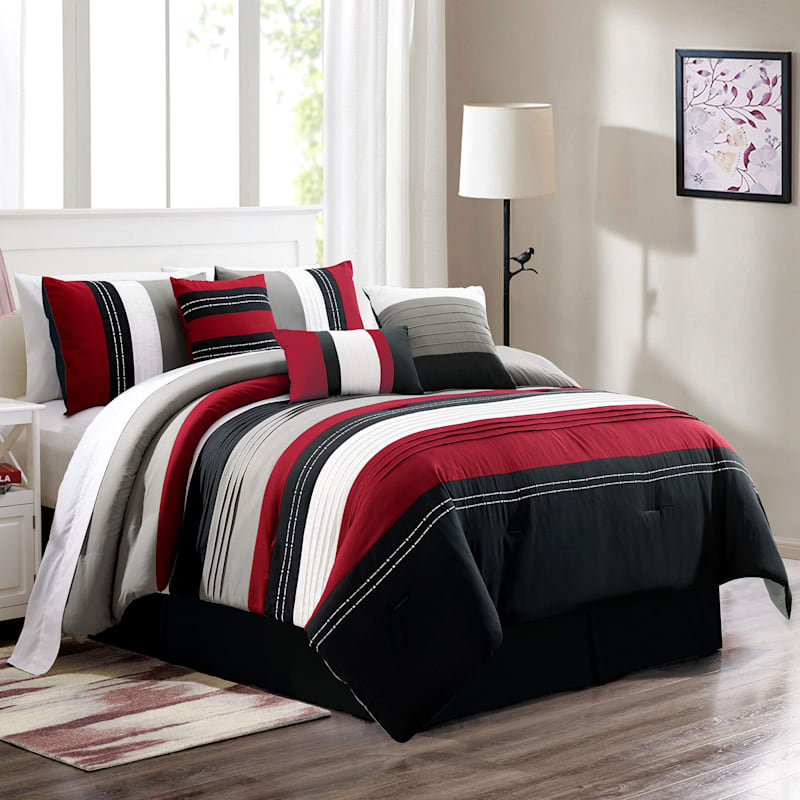 Red/Black Embroidered Pintuck Premium 7-Piece Comforter Set King