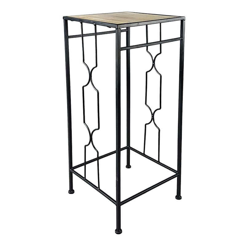 Metal Plant Stand With Wood Top Black, Medium
