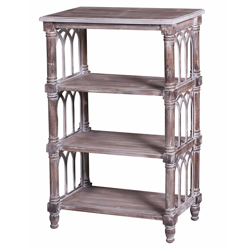 4 Tier Distressed Wood Bookshelf