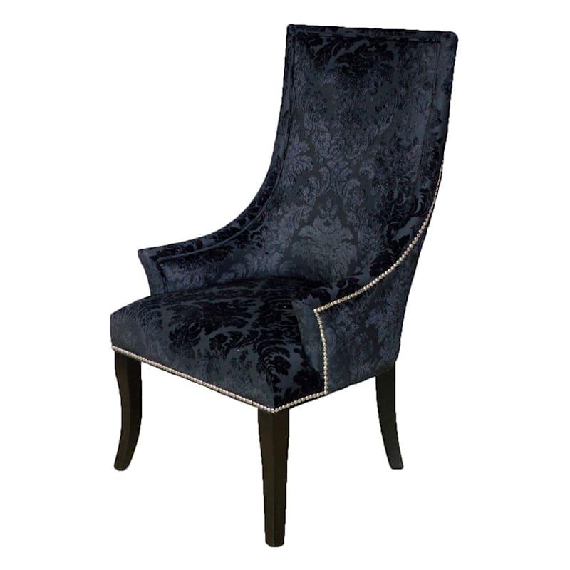 Chatham Black Velvet Damask Print Accent Chair