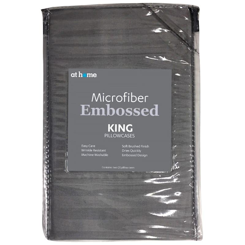 Grey Microfiber 2-Piece Pillow Case King 20X36