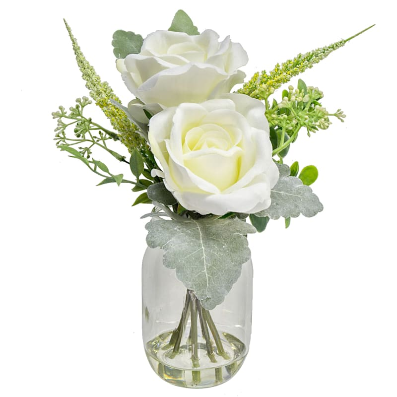 Faux Rose And Filler In Clear Jar