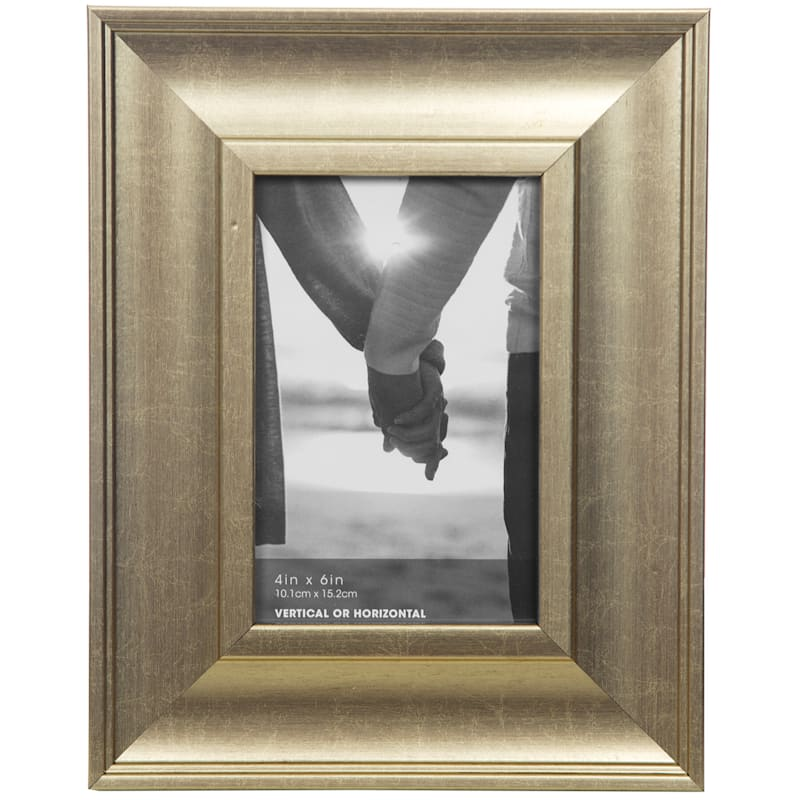 4X6 Wide Gold Slant Profile Tabletop Photo Frame