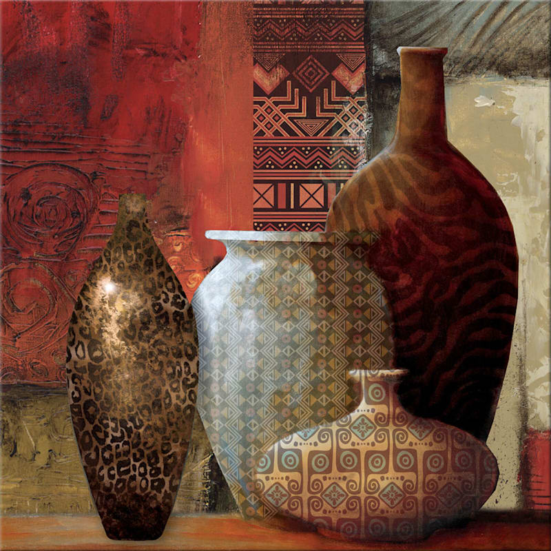 18X18 Red Textured Vases Canvas Wall Art