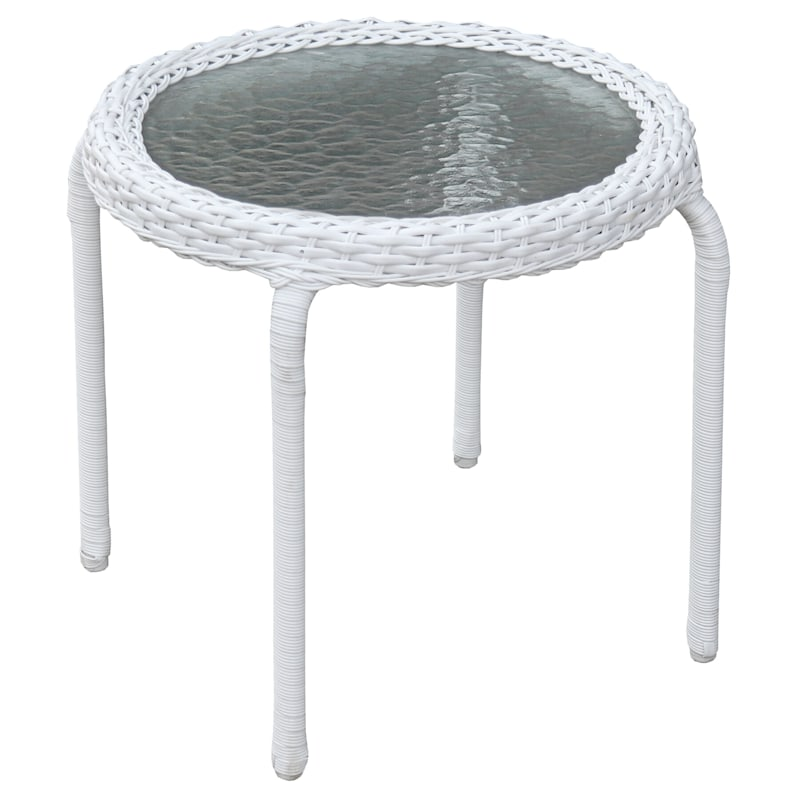 Outdoor Wicker Tempered Glass Top End, Outdoor End Tables