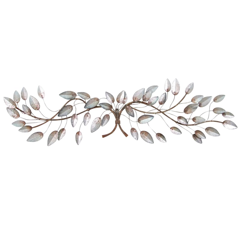 46In.X13In. Metal Galvanized Leaf Wall Art