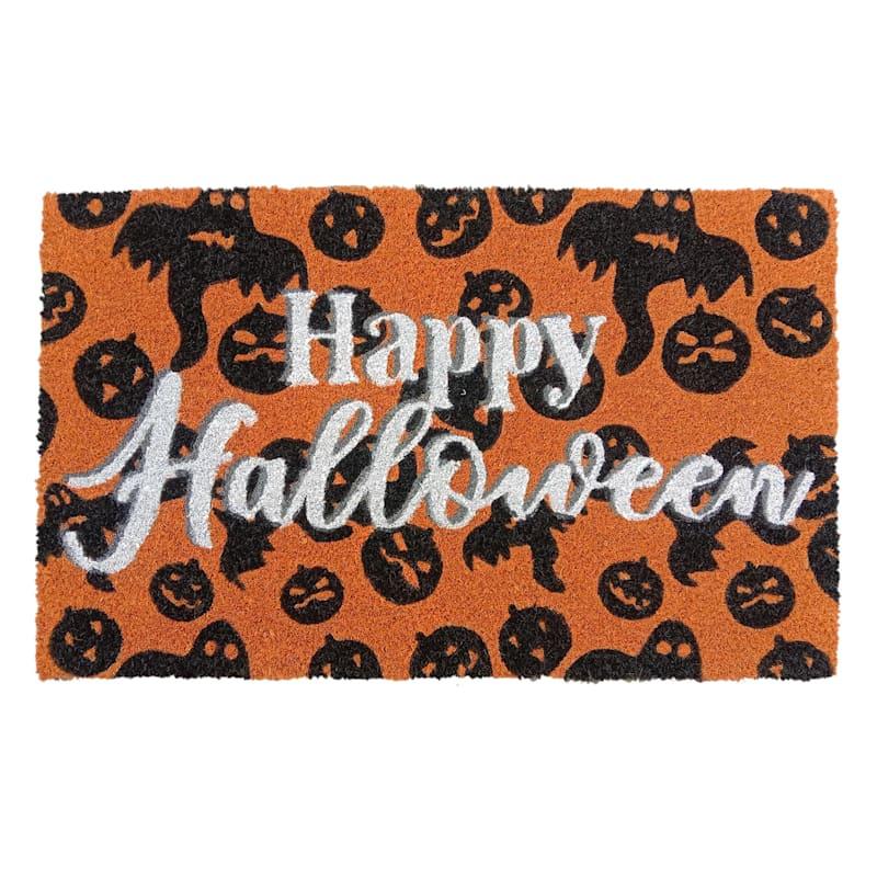 Happy Halloween Orange Coir Rug, 18x30