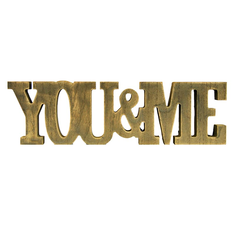 12X3.5 You And Me Tabletop Wood Word Sign