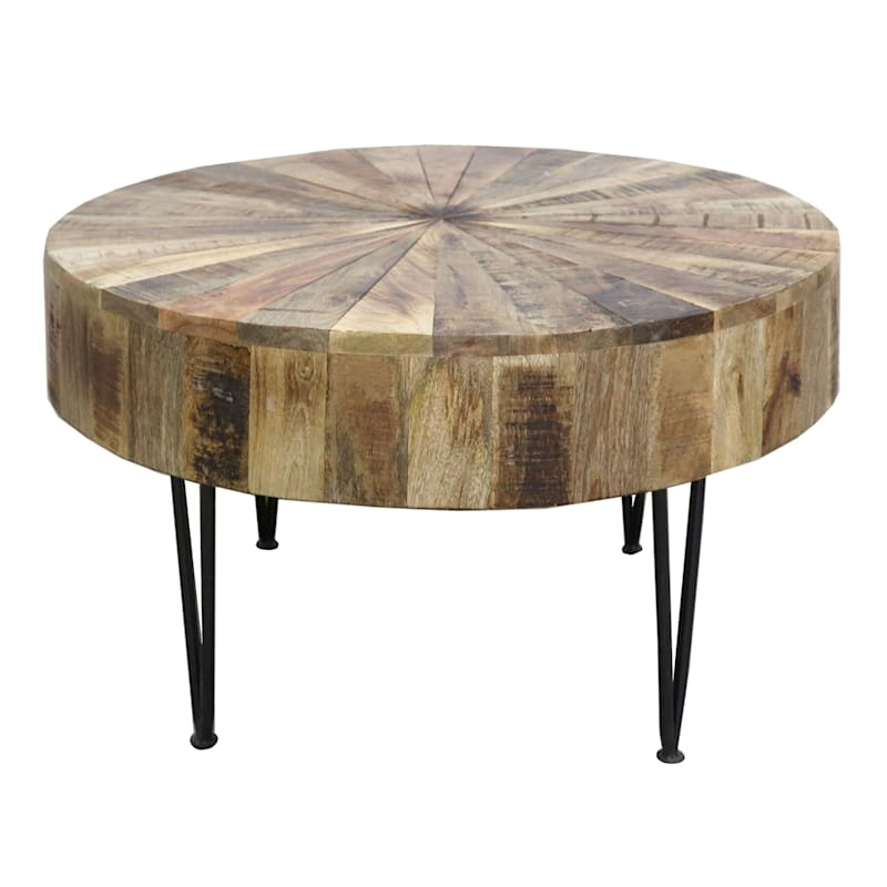 Round Mango Wood Coffee Table With Metal Hairpin Legs