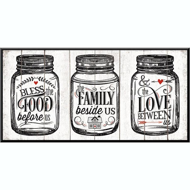 15X8 Food Family Love Art Printed On Glass