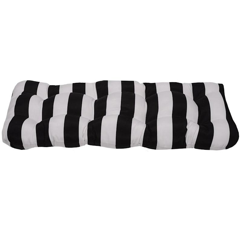 Black Awning Stripe Outdoor Wicker Settee Cushion