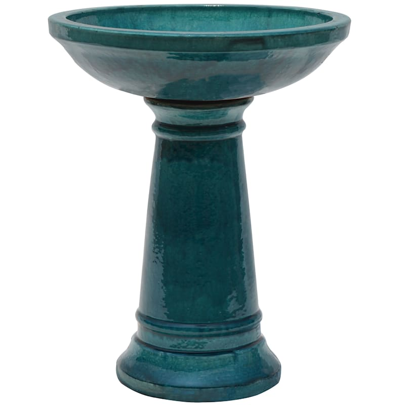 Beauly Ceramic Birdbath 22.8in. Turquoise