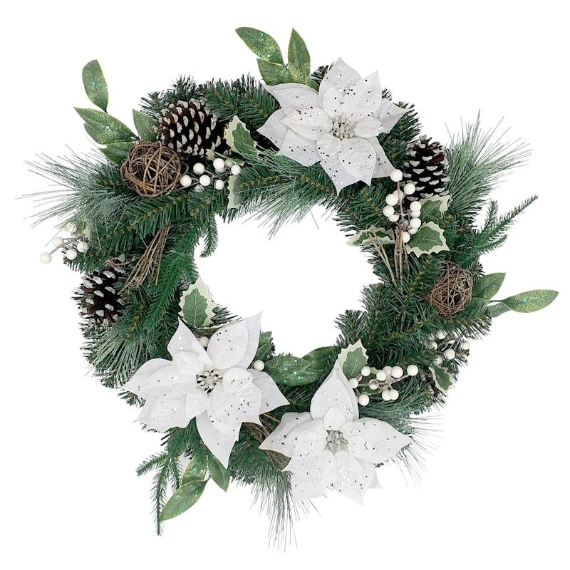 """Flocked White Poinsettias and Pinecones Wreath, 22"""""""