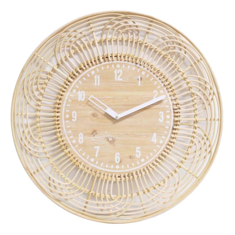 """Rattan Wall Clock, 24"""""""