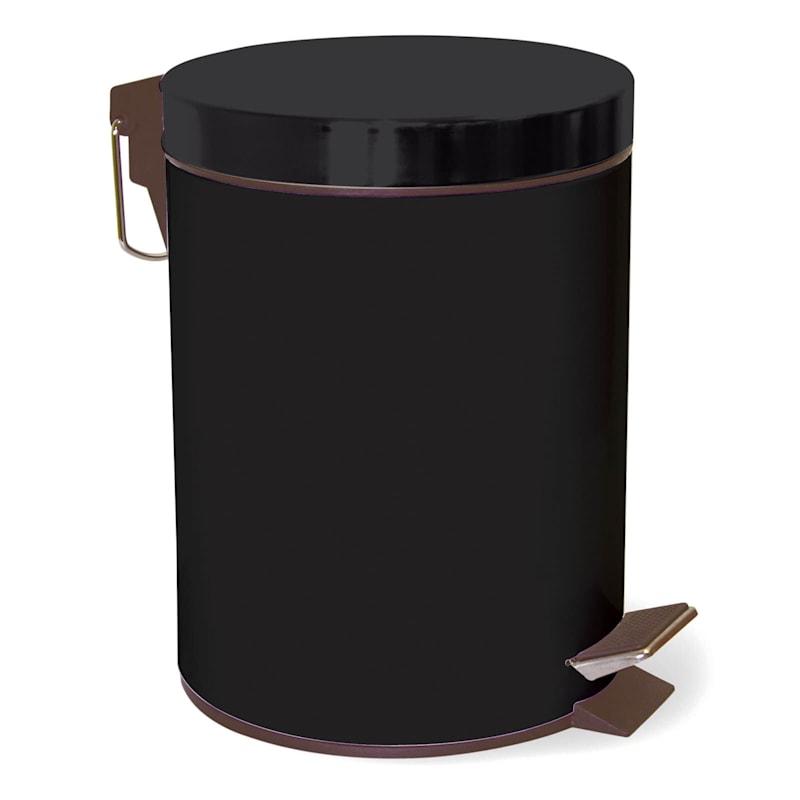 5L Step Metal Trash Bin Black