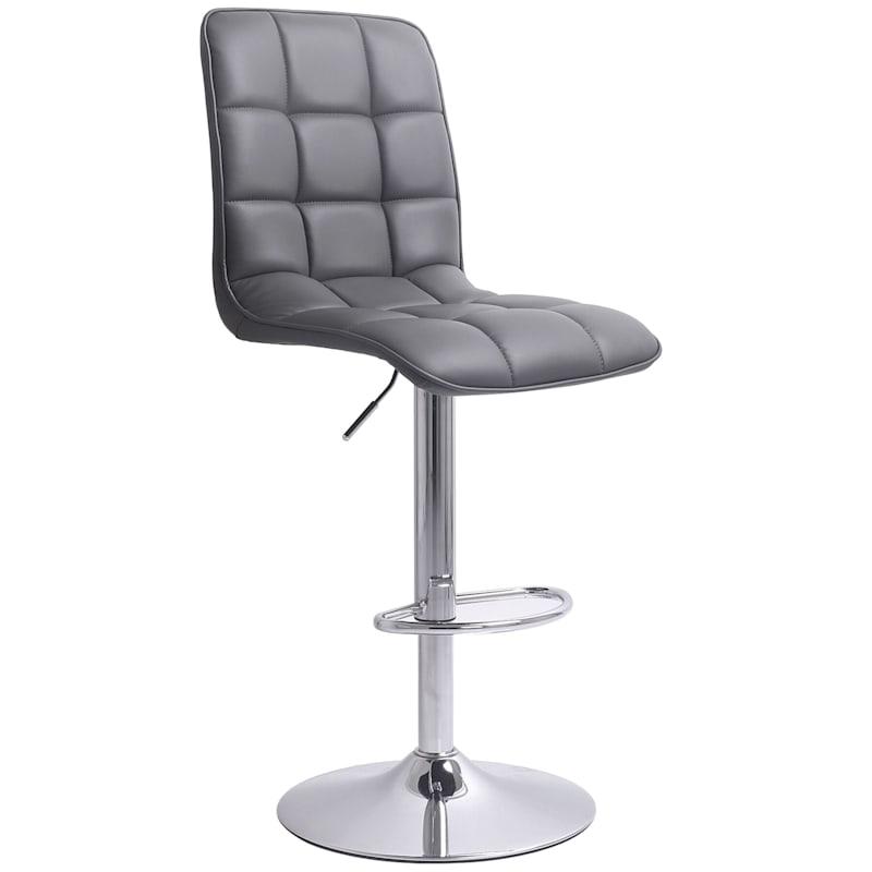 Bradley Adjustable Chrome Grey Barstool