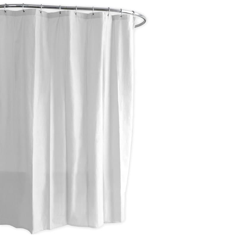 Ella White Embossed Fabric Shower Curtain Liner 70X72