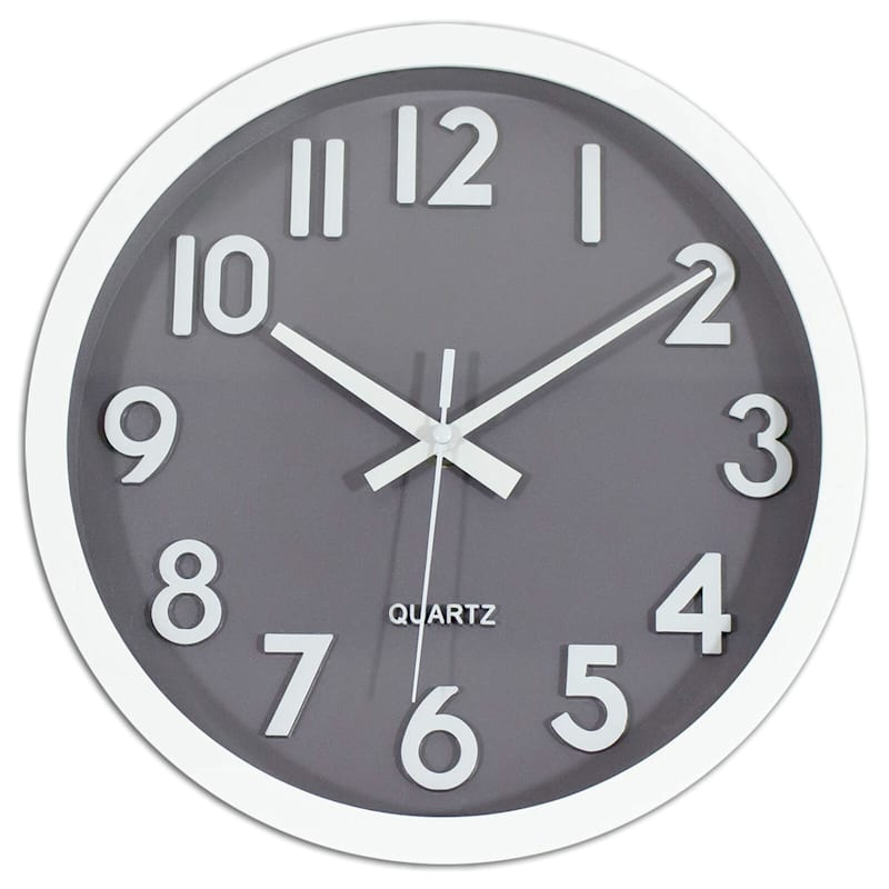 10X10 Grey Face Round Accent Wall Clock