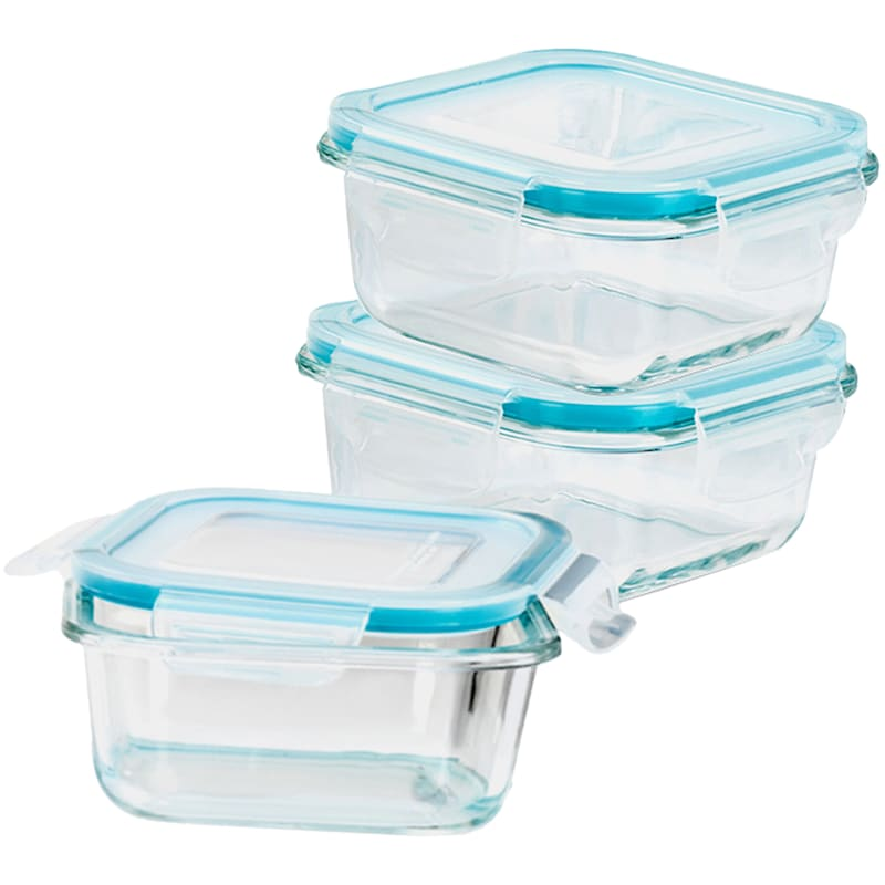 6-Piece 570ml Square Glass Food Storage Set/Locking Lids