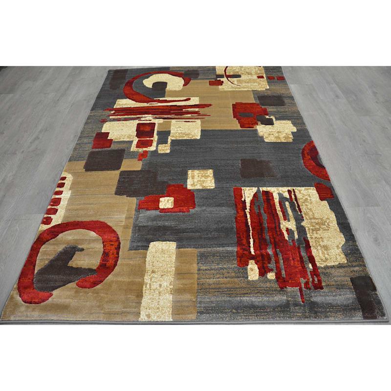 (B142) Beige & Red Modern Abstract Design, 5x7