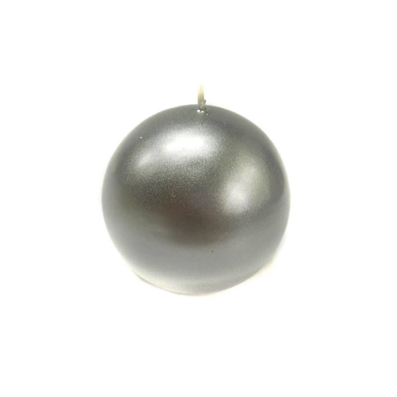 2.8in. Sphere Candle Metallic Silver
