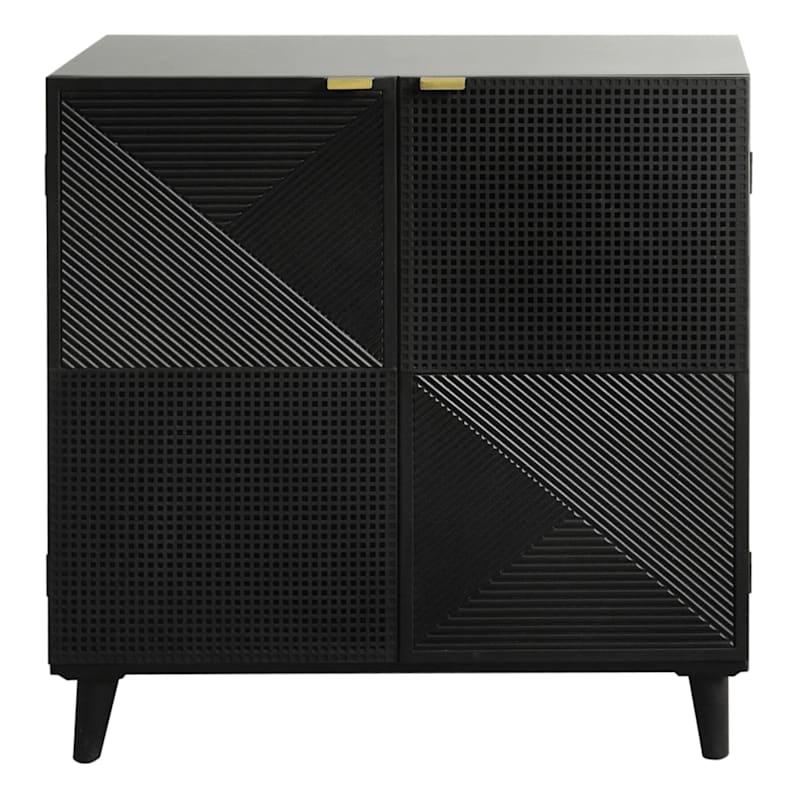 2 Door Black Wooden & Metal Cabinet