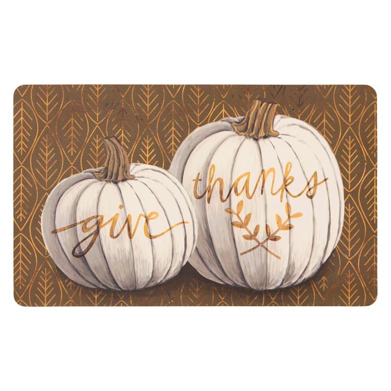 Give Thanks White Pumpkins Royal Mat, 18x30