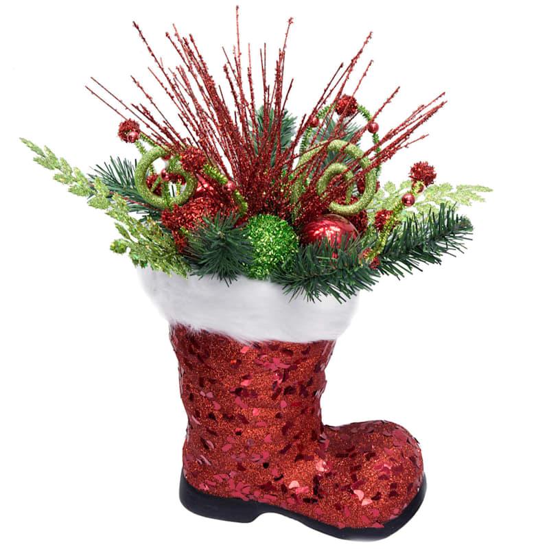 "Red Glitter Santa Boot, 18"""