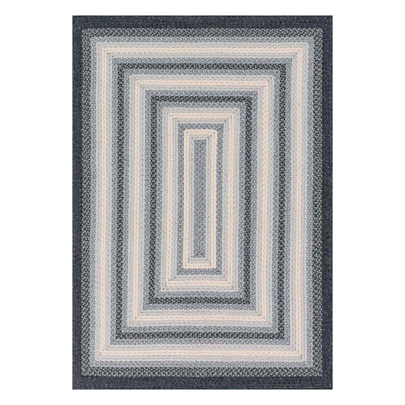 (D322) Lucius Grey Braid Area Rug, 5x8