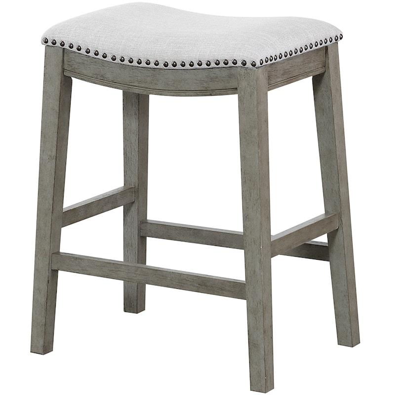 "Haven Grey Upholstered Saddle Barstool, 24"""