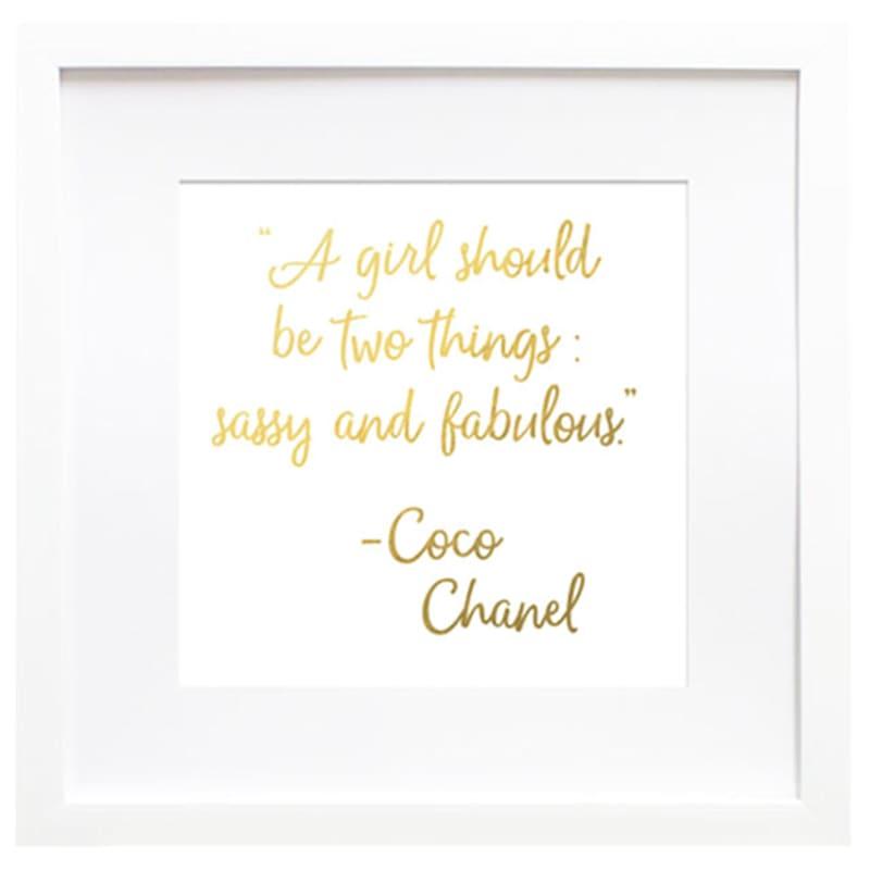 19X19 Sassy Fab Chanel Typography Under Glass Art
