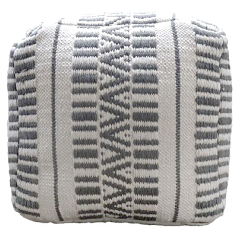 Maya Handwoven Striped Square Pouf