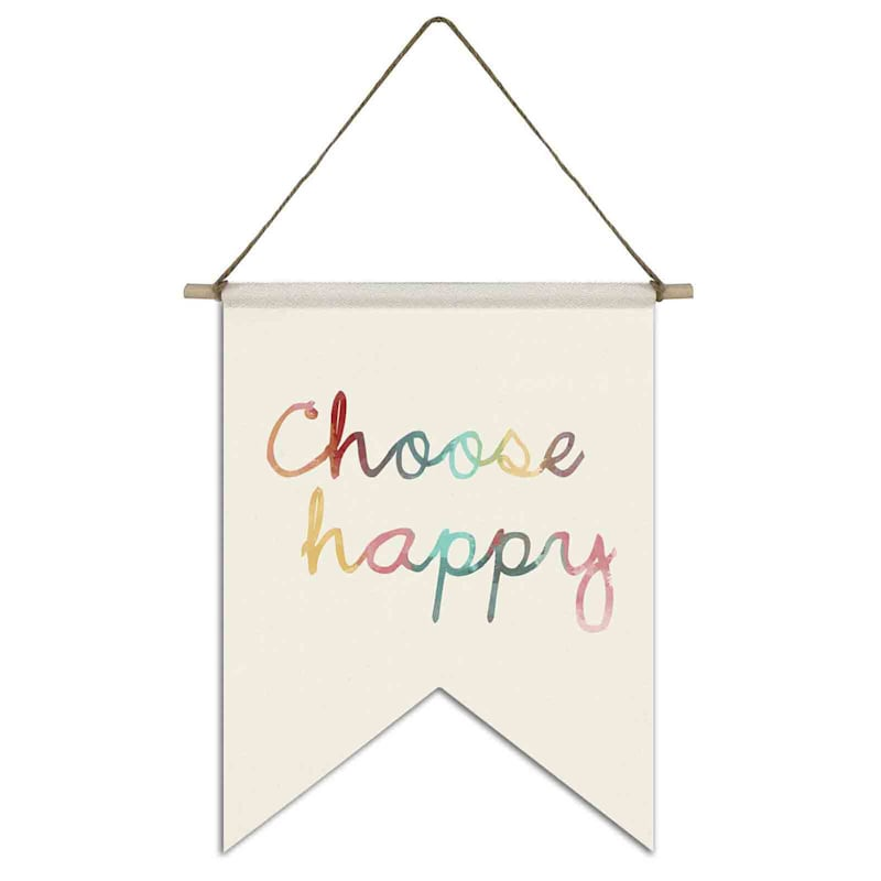 11X14 Choose Happy Canvas Flag With Rope Hanger