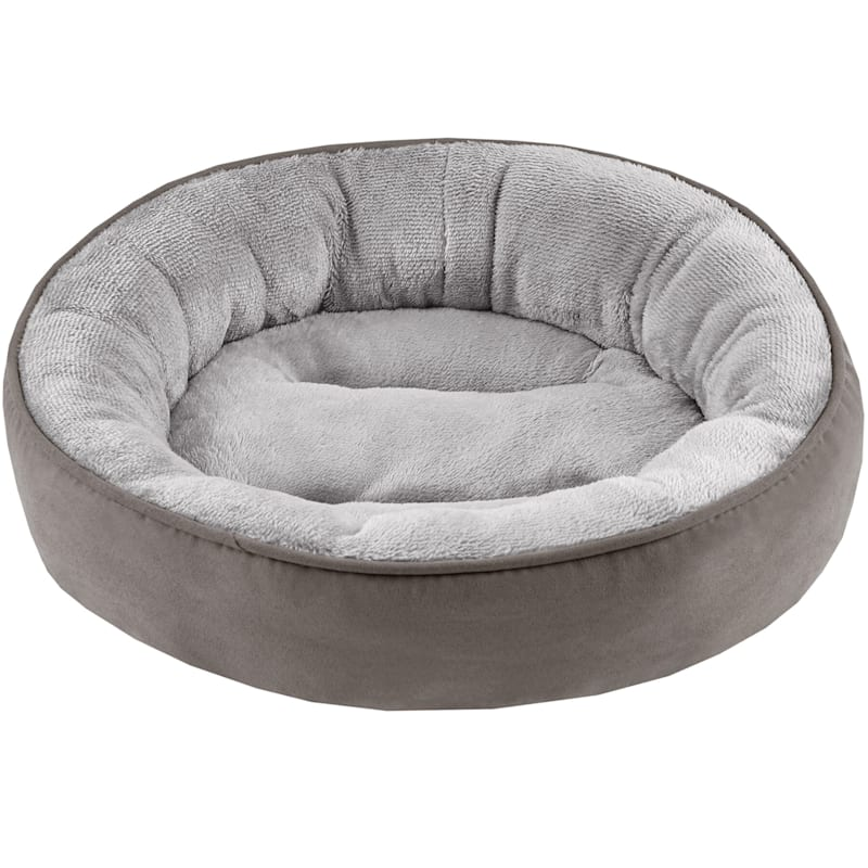 Dark Grey Faux Suede Donut Bed