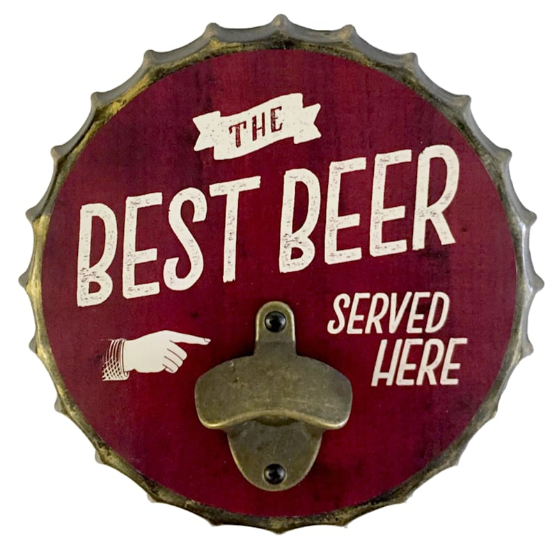 9X9 Metal Bottle Cap Wall Mounted Bottle Opener The Best Beer Served Here