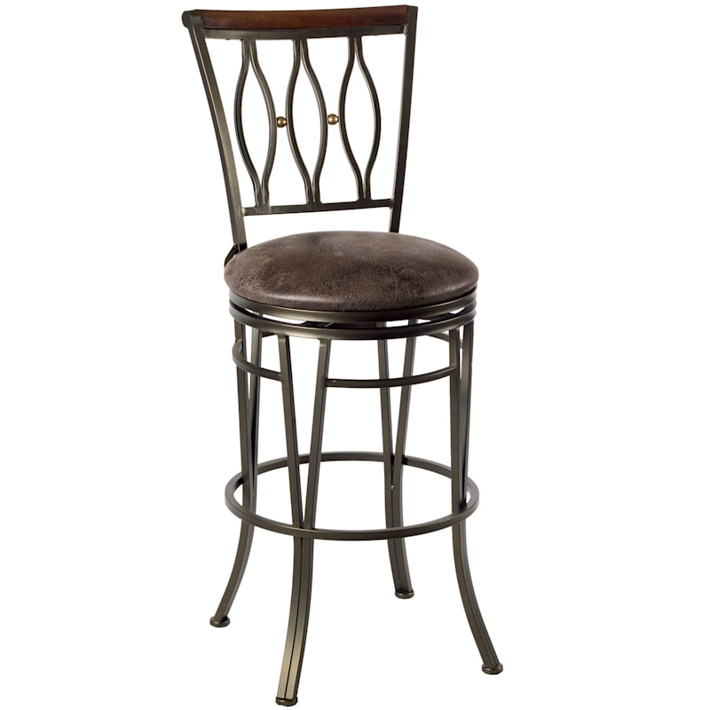 """Marsol  Brown Swivel Barstool with Faux Leather Upholstered Seat, 30"""""""