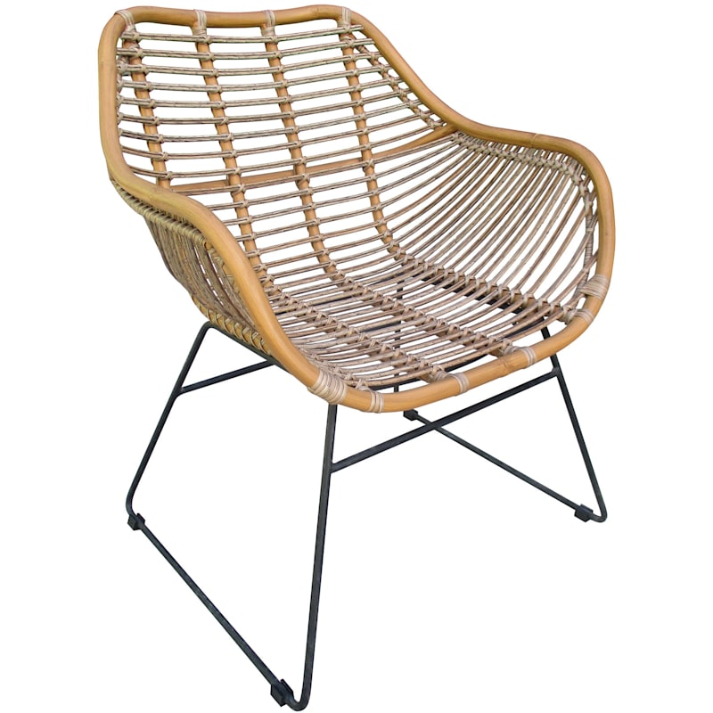 Wates Natural All Weathered Wicker Chair with Steel Frame