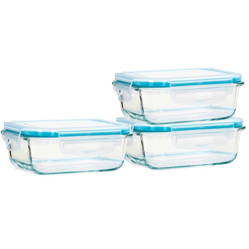 6-Piece 570ml Rectangle Glass Food Storage Set/Locking Lids