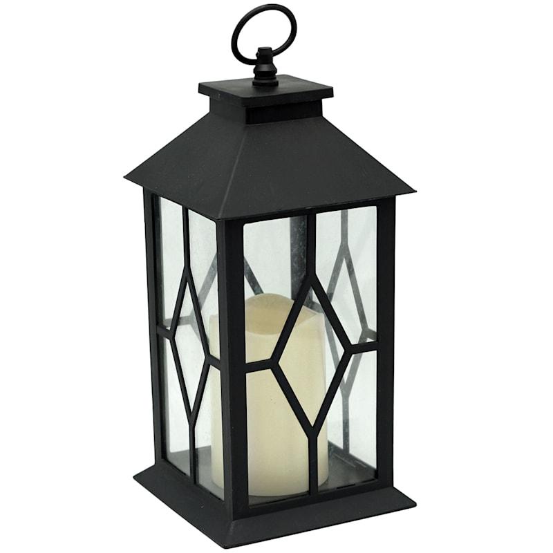 Black LED Lantern With Candle