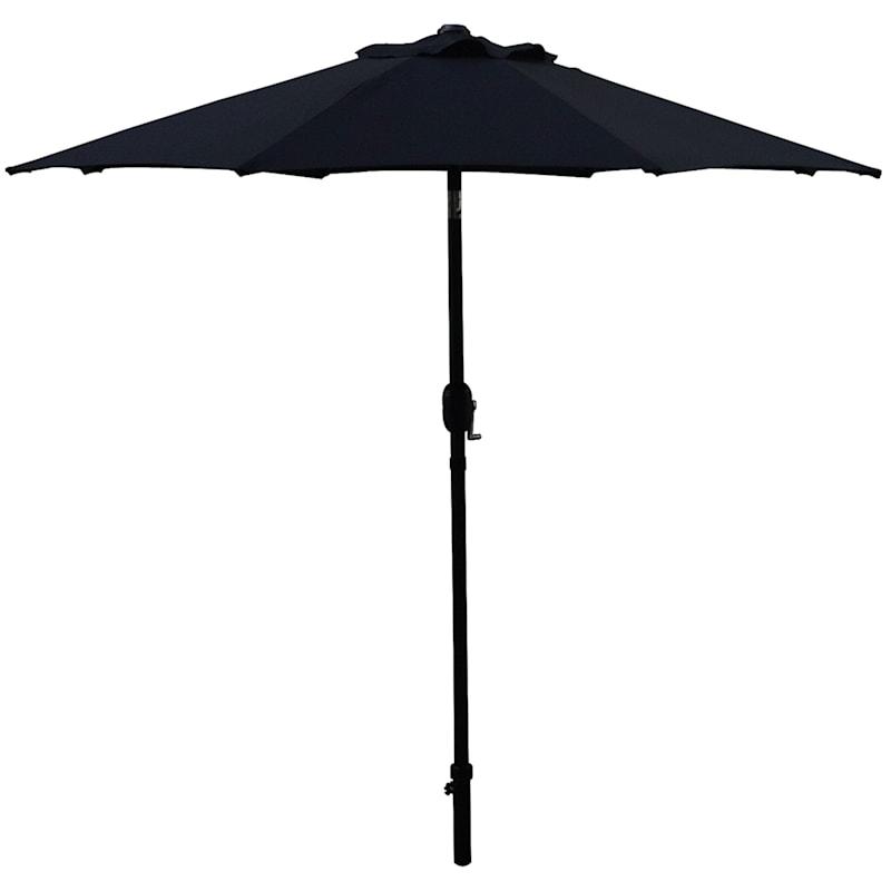 Steel Black Round Crank & Tilt Outdoor Umbrella, 7.5'